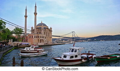 Pier near Ortakoy Mosque in Istanbul - Scenic view at yachts...