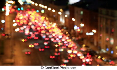 Bright lights of night traffic of the avenue in Moscow - Out...