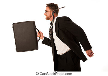 Successful businessman in formal suit and briefcase, running...