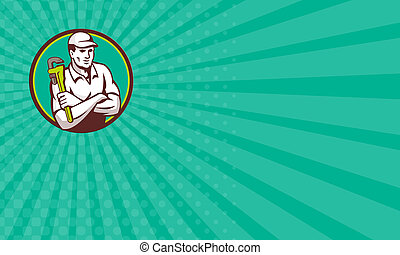 Business card Plumber Monkey Wrench Arms Crossed Circle...