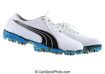 Golf Shoes for men in white with blue spikes soles isolated...