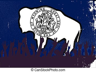 Wyoming State Flag with Audience