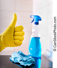 Kitchen cleaning concept - Close up of human hand with...