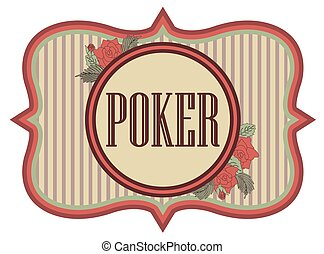 Vintage poker casino banner, vector illustration