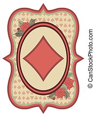 Vintage casino poker diamonds card, vector illustration