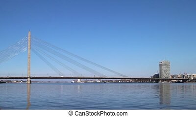 Riga bridge - Vanu Bridge on Daugava river, Riga, Latvia.
