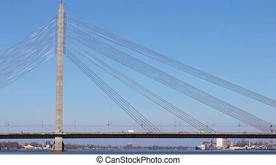 Riga bridge - Vanu Bridge on Daugava river, Riga, Latvia