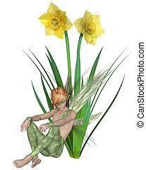 Daffodil Fairy Boy, Sitting - Fantasy illustration of a...
