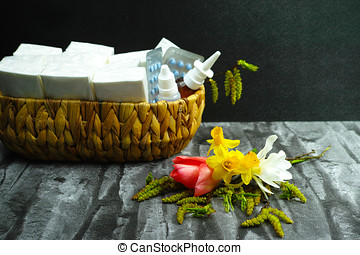 Allergy relief concept, seasonal allergens - pollen and flowers, medication and paper tissues