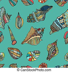 sea cockleshell seamless pattern - Zentangle stylized sea...