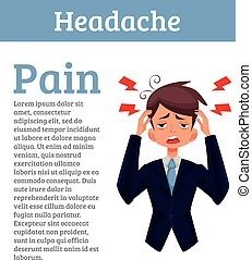 Concept headache in a person with information - A man with a...