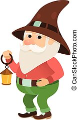 garden gnome with a small flashlight oil lamp, dwarf, figurine or cartoon character, isolated