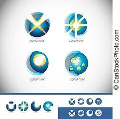 Sphere 3d logo icon set