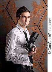 Photographer in studio like a model