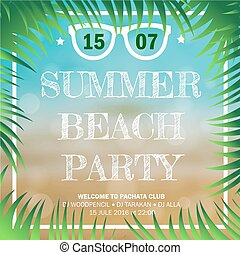 Hello Summer Beach Party Flyer. Vector Design EPS 10 - Hello...