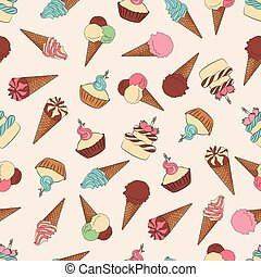Desserts seamless pattern with ice cream