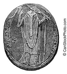 Seal of Thomas Becket, vintage engraving. - Seal of Thomas...