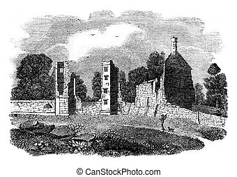 Ruins of the castle Broadgate, Earl of Leicester, birthplace of Jeanne Gray, vintage engraving.