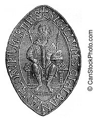 Seal of the Abbey of St Albans, vintage engraving - Seal of...