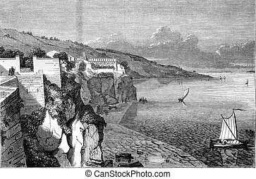 View of Sorrento, the Gulf of Naples, vintage engraving -...