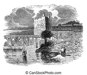 Ford Castle, vintage engraving - Ford Castle, vintage...