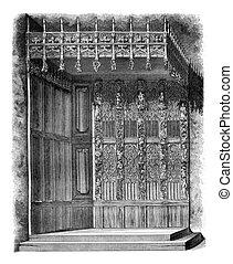 The Argentelles restored justice bed, vintage engraving. -...