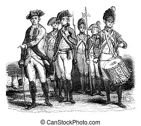 Military costumes, Infantry, vintage engraving - Military...