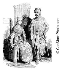Costumes beginning of the reign of John, vintage engraving....
