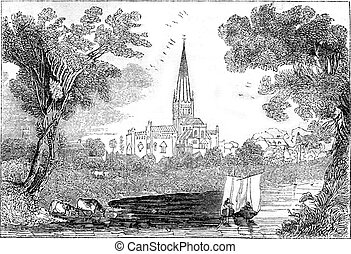 View of Norwich Cathedral, vintage engraving. - View of...