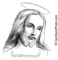 Jesus, vintage engraving. - Jesus, vintage engraved...