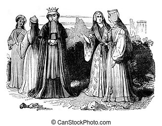 Women's costumes in the reign of Henry VII, vintage...