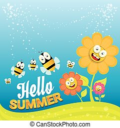 vector cartoon summer landscape with Honey bees - vector...