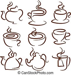 Illustration set icon of cup,teapot,pot.Vector