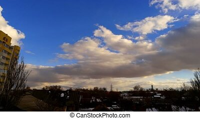 Clouds over houses in Astrakhan, Russia - Clouds over slum...