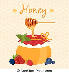 Illustration of honey pot and honey dipper. Vector