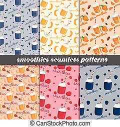 Set of smoothies seamless patterns. Vector