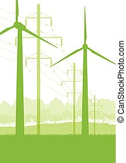 Wind generator and high voltage towers vector background...