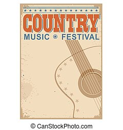 Country music festival background with text.Vector old...