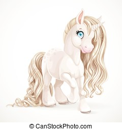 Cute fabulous unicorn with golden mane isolated on a white...