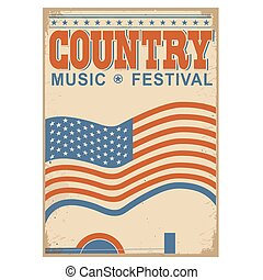 Country music background with text.Vector old poster with flag
