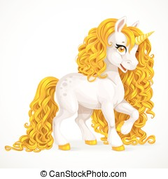 White fabulous unicorn with golden mane isolated on a white...
