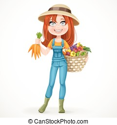 Cute young farmer girl with a big basket of vegetables isolated on white background