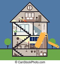 House remodeling infographic.Vector