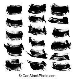 Abstract black ink strokes set isolated on a white...
