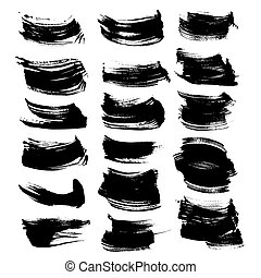 Black ink strokes set isolated on a white background