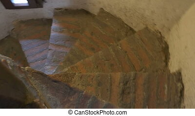 Stairs Inside Medieval Tower - Narrow circular brick stairs...