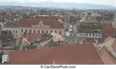 Sibiu Town Old Buildings - Building view form top in the...