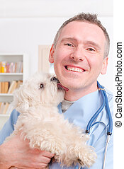 Happy vet holding a little dog - Happy vet with little dog...