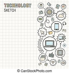 Technology hand draw integrate icons set on paper.