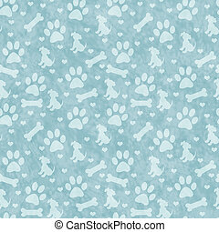 Teal Doggy Tile Pattern Repeat Background - Teal Dog Paw...